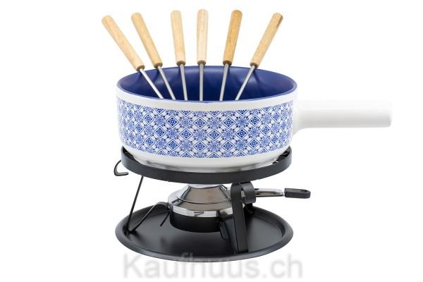 """Käsefondue-Set Element """"Kacheln"""", Ø 22 cm, blau"""