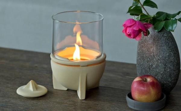 Schmelzfeuer Indoor CeraNatur® mit Windglas-Aufsatz, 4-teilig