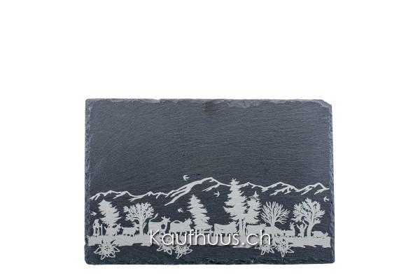 "Schieferplatte ""Alpaufzug"", 30 x 20 cm"