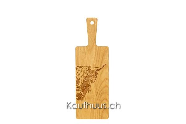 "Holzbrett ""Hochlandrind Zoom"", Buche, klein"