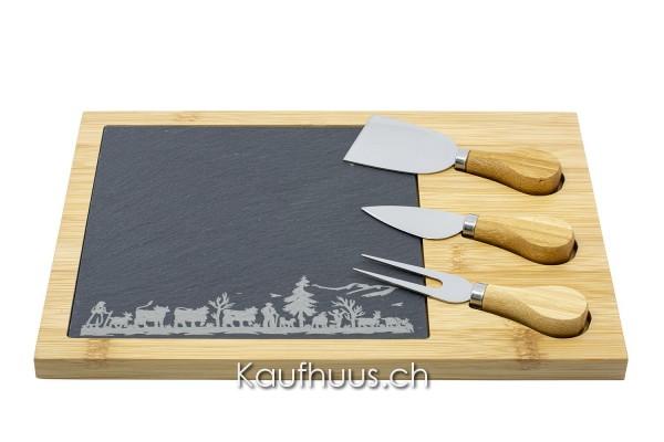 Geschmacksvolle Käseplatte mit Lasergravur, 5-teilig, 30 x 21,5 x 1,5cm