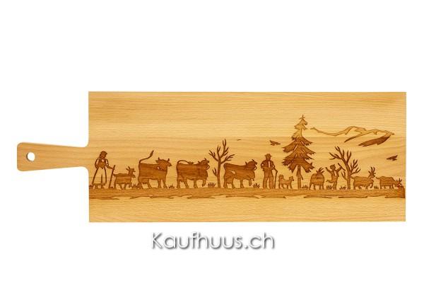 "Holzbrett ""Alpaufzug Familie"" Buche, lang"