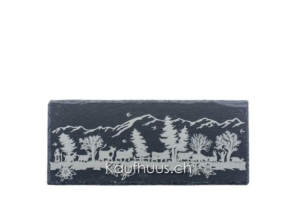 "Schieferplatte ""Alpaufzug"", 33 x 14 cm"