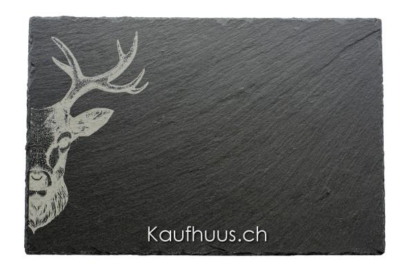 """Schieferplatte """"Hirsch Zoom"""" 30 x 20 cm"""