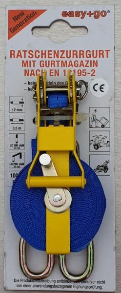 Ratschen-Zurrgurt easy+go mit Gurtmagazin, 12 mm Band