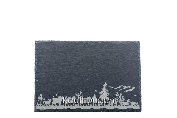 """Schieferplatte """"Alpaufzug Familie"""", 30 x 20 cm"""