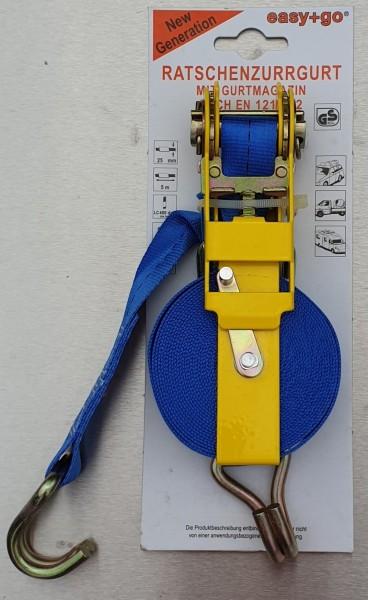 Ratschen-Zurrgurt easy+go mit Gurtmagazin, 25 mm Band