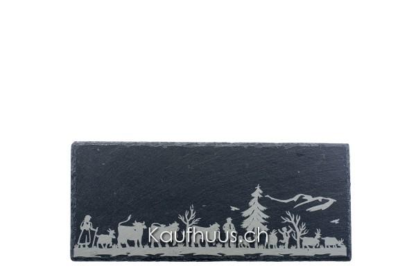 """Schieferplatte """"Alpaufzug Familie"""", 33 x 14 cm"""