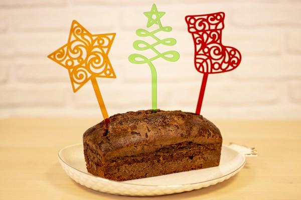 "Cake Topper ""Christmas"", Acryl, 3er-Set"