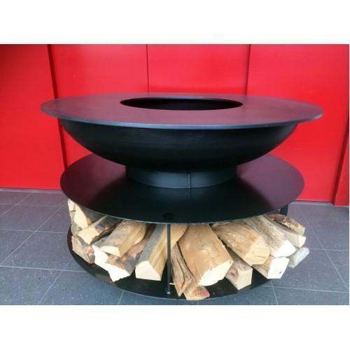 Feuerschale Stahl mit Grillring und Holzablage