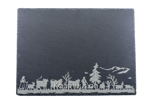"""Schieferplatte """"Alpaufzug Familie"""", 40 x 30 cm"""
